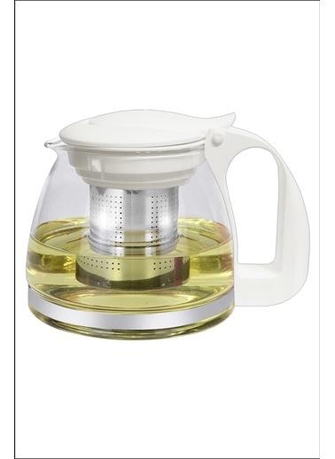 Kitchen Love 700Ml-Çelik Süzgeçli Cam Demlik Beyaz